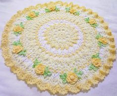 yellow roses  centerpiece doily by Aeshagirl on Etsy