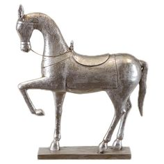 Silver-finished statuette of a prancing horse.  Product: StatuetteConstruction Material: ResinColor:...