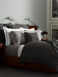 Grey Haberdashery Collection - Ralph Lauren Home Bedding Collections… Masculine Bedding, Masculine Room, Masculine Bathroom, Brown Bed Linen, Neutral Bed Linen, Neutral Bedding, Luxury Duvet Covers, Luxury Bedding Sets, Modern Bedding