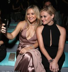 Stunners: Busty Kate Hudson snapped selfies with  Reese Witherspoon as she partied with Ti...
