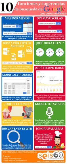 10 funciones y sugerencias de búsqueda de Google #infografia #infographic | Repinned by @drbrunogallo  Ideas Negocios Online para www.masymejor.com