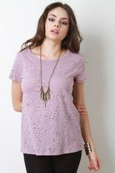 Distressed Round Neck Marled Tee