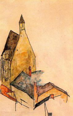 """artmagnifique: """"EGON SCHIELE. Spitalskirche, Molding, 1918. """""""