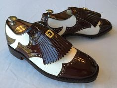 FootJoy - Classic Golf Shoe - New - 8.5 C - White w/ Brown Patent Leather Kiltie