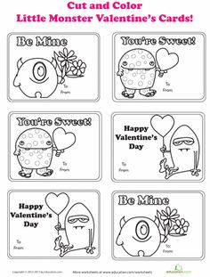 Worksheets: Monster Valentines