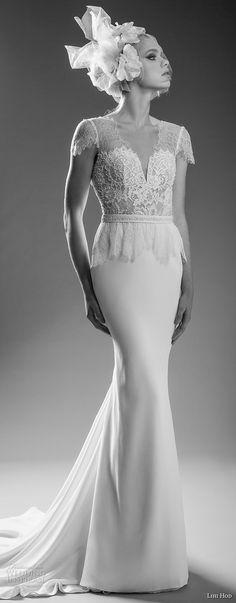 "lihi hod bridal 2017 cap sleeves v neck heavily embellished bodice elegant sheath wedding dress open v back medium train (shelly) mv -- Lihi Hod 2017 ""Dreams"" Bridal Collection"