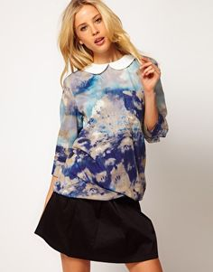 Enlarge ASOS Top in Silk Mix and Woodlands Print with Twisted Hem