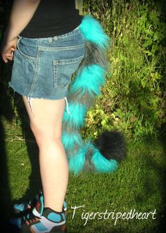 RAINBOW TAIL LONG BRAND NEW CLIP ON COSPLAY SOFT FAUX FUR FUN LOW PRICE UK SALE