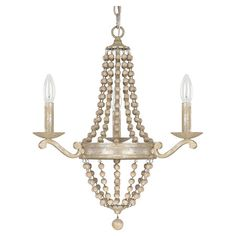 Cast a warm glow in your den or dining room with this eye-catching chandelier, featuring a cascading chain design and silver quartz finish. ...