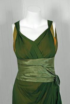 1910's Sage-Green & Golden Silk Chiffon Asymmetric Draped Gown. Detail