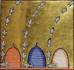 Vintage Bee & Beehives - Bee Decor — The Beehive Shoppe Medieval Life, Medieval Art, Medieval Manuscript, Illuminated Manuscript, Illuminated Letters, Bee Skep, Vintage Bee, Bee Friendly, Bee Art