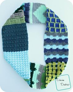 Sampler Crochet Scarf - free pattern with 8 different stitches by Divine Debris.