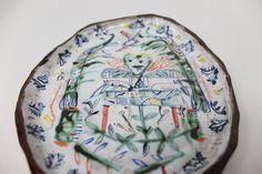 Majolica drawings plate. hand made by Rose de by RosedeBorman