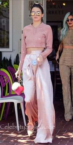 Kendall Jenner Is Perfect In Pink Metallic Trousers At Mauro's Cafe