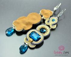 Sapphire gold earrings with drop, blue beige soutache earrings, royal blue crystal earrings, long dangle earrings glossy, long earrings blue Soutache Earrings, Blue Earrings, Crystal Earrings, Crystal Beads, Dangle Earrings, Stylish Jewelry, Fine Jewelry, Blue Crystals, Jewelery