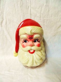 1973 Musical SANTA CLAUSE Christmas Decoration-Jolly Old St. Nicholas-Plays JiNGLE BeLLS-Plastic Santa Head Figurine-Vintage Christmas Decor by OrphanedTreasure on Etsy