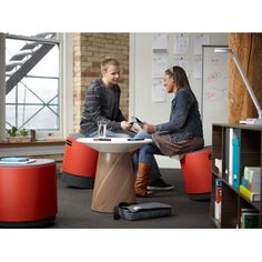 $589 w/ stools around for small collaboration areas  Turnstone Campfire 24.6 Round Paper Table