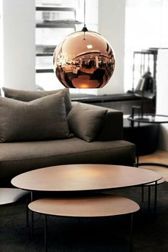 just-good-design: STUA Eclipse nesting tables with a Tom Dixon lamp in Zaza Helsinki (thank you for the beautiful photo sannikoffert) Living Room Designs, Living Spaces, Modern Furniture, Furniture Design, Copper Furniture, Futuristic Furniture, Plywood Furniture, Home Decoracion, Copper Lighting