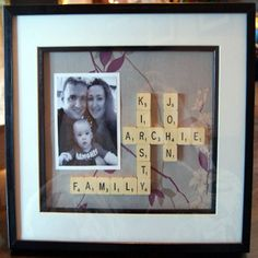 Arrange a few meaningful words - or your names - using Scrabble tiles, add a family photo, and frame!