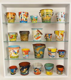 Cause it& still summer: typology of vintage beach pails via Lost Found Art. Vintage Tins, Vintage Antiques, Vintage Stuff, Tin Pails, Sand Toys, Beach Toys, Found Art, Beaded Ornaments, Displaying Collections
