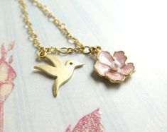 Gold Hummingbird Necklace Floral Bird Necklace Pink Enamel Flower Necklace