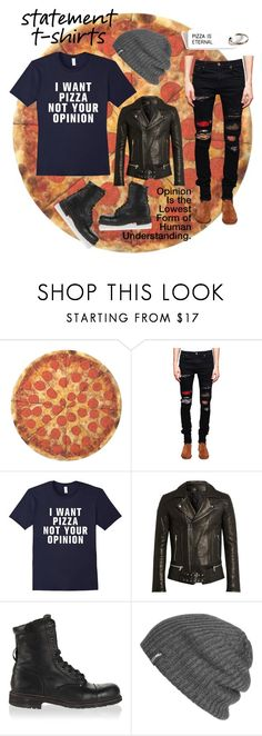 """""""I Want Pizza, Not Your Opinion"""" by shunters16 ❤ liked on Polyvore featuring Round Towel Co., AMIRI, Balmain, Diesel, Outdoor Research, men's fashion and menswear"""