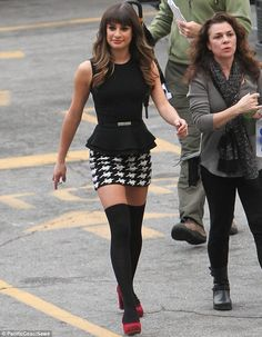 Berry nice! Lea Michele looks gorgeous in a miniskirt and pop socks while in character as Rachel on set of Glee