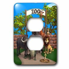 3dRose Animals at the zoo, 2 Plug Outlet Cover