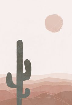 Abstract landscape terracotta bohemian desert printable wall art - This illustration depicts the bohemian terracotta desert, the sun and the cactus. The drawing is ma - Iphone Background Wallpaper, Aesthetic Iphone Wallpaper, Aesthetic Wallpapers, Photo Wall Collage, Picture Wall, Minimal Art, Cute Patterns Wallpaper, Mid Century Art, Abstract Landscape