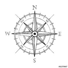 Compass wind rose hand drawn design element Vektorgrafik : Compass wind rose hand drawn Vektor-design-element This image has get Compass Art, Compass Drawing, Compass Vector, Compass Tattoo Design, Nautical Compass Tattoo, Compass Rose Tattoo, Tattoo Arrow, Dragonfly Tattoo, Tattoo Geometrique