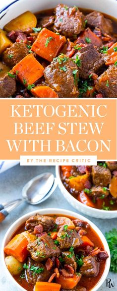 Ketogenic beef stew with bacon by the Recipe Critic. Get this and more of the best freezable ketogenic recipes to try for dinner. #ketogenic #keto #ketogenicdiet #beef #beefstew