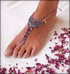 Macrame and Brass  Barefoot Sandal,,Nude shoes,Foot jewelry, sexy yoga bellydance anklet jewelry