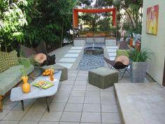 vorgartengestaltung modern steinpflaster gartenmöbel dekoideen wassermerkmal
