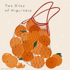 Illustration with net bag or mesh bag full of tangerines or clementines. Two kilos of happiness Illu Fruit Illustration, Food Illustrations, Graphic Design Illustration, Christmas Illustration Design, Arte Sketchbook, Net Bag, Poster S, Guache, No Photoshop