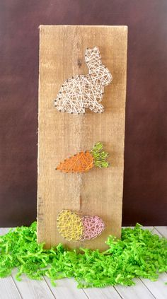 Easter Bunny Carrot and Egg String Art Craft - makes a beautiful spring DIY home decor gift and easy enough for kids to make!