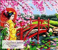 """Serene Japanese garden view Stitch Count : 350 width x 200 height Fabric color: Navy Blue Design Size : 26""""w x 17""""h inches on 14 count 55 DMC Thread colours 24-page pattern; Red & Black symbols chart;Sample of the chart is shown Beginners to Advanced  ----------------*****@@@@@@@@@@@*****-------------------- WHAT YOU GET: CROSS STITCH PATTERN ONLY- PDF Downloadable file. Not a Kit or a Finished Product :)  HOW TO ORDER: Click on CHECKOUT and use PAYPAL with your favorite credit card . The..."""
