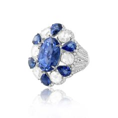 Sutra Jewels Sapphire and Diamond Ring