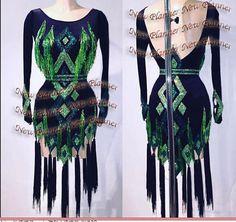 Women Smooth Latin Rumba Salsa Dance Dress US 8 UK 10 Black Green Beads Fringe