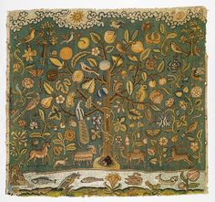 The Tree of Life - Tapestry, English, first half of 17th century Canvas worked with silk thread; tent, Gobelin, and couching stitches; 22 1/2 x 24 1/8 in. (57.1 x 63.1 cm)