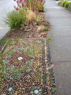 danger garden And finally there was a hell-strip mosaic carpet(done by Jeffrey Bale) River Rock Landscaping, Landscaping With Rocks, Garden Landscaping, River Rock Patio, Dream Garden, Garden Art, Garden Design, Pebble Garden, Garden Table