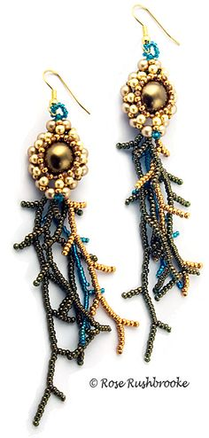 Chrysogonum, gold and green earrings - cubic right angle weave bead stitch. Made with seed beads, crystals, and glass pearls. Image copyright © Rose Rushbrooke.