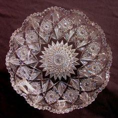 American brilliant cut glass bowl, diamond cut