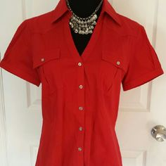 Express Essential Button Down Blouse Perfect button up collared blouse. V neck style. Great for work or to make a pair of jeans really pop. Missing bottom button, easy fix, not noticeable when tucked in. Worn once. In excellent condition. Express Tops Button Down Shirts