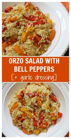 Orzo salad with bell peppers and garlic dressing is the perfect side dish for any summer BBQ or weeknight meal. Fresh bell peppers and a store bought dressing pack a punch of flavor! Low Carb Side Dishes, Healthy Side Dishes, Side Dish Recipes, New Recipes, Favorite Recipes, Cooking Recipes, Side Dishes For Chicken, Vegetable Side Dishes