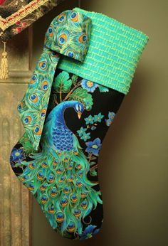 Gorgeous Peacocks Christmas Stocking with by ChristmasIsLove