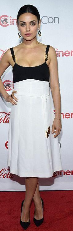 Who made Mila Kunis' white and black dress?