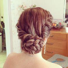Braided side bun bridal hair ideas ,wedding updo ,braids,braid updo hairstyle