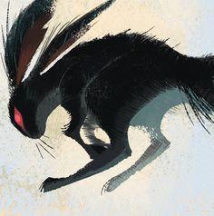 """Black Rabbit of Inlé - Watership down"" Rabbit Drawing, Rabbit Art, Rabbit Head, Dark Art Illustrations, Illustration Art, Rabbit Tattoos, Watership Down, Instagram Prints, Japanese Characters"