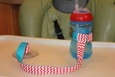 Bottle Tether, Toy Tether, Sippy Strap with Suction Cup-Red & White Chevron/Turquoise