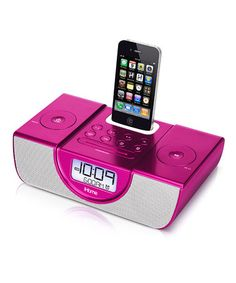 Enjoy an enhanced audio experience by docking an iPhone or iPod on this cutting-edge radio. The speakers help to bring the best out of the entire music collection while its sleek design will look entirely at home in any modern interior. Pink Clocks, Best Alarm, Ipod Dock, Ways To Sleep, Radio Alarm Clock, Stereo Speakers, Docking Station, Toss Pillows, Girl Room